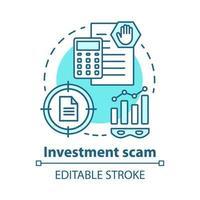 ícone de conceito de golpe de investimento vetor