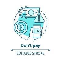não pague ícone de conceito vetor