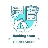 ícone do conceito de golpe bancário vetor