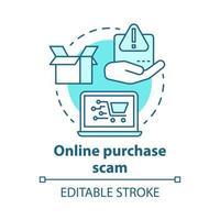 ícone de conceito de golpe de compra online vetor