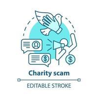 ícone de conceito de golpe de caridade vetor