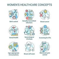conjunto de ícones de conceitos de saúde feminina vetor