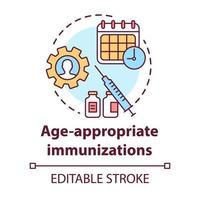 ícone do conceito de imunizações adequadas à idade vetor