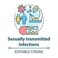 ícone do conceito de infecções sexualmente transmissíveis vetor
