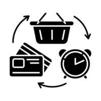 ícone de glifo de crédito rotativo vetor