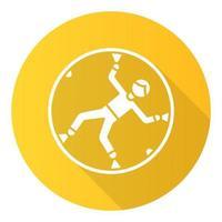 ícone de glifo de sombra longa design plano amarelo zorbing vetor