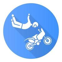 ícone de glifo de sombra longa de motocross estilo livre azul vetor