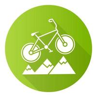 mountain bike design plano verde longa sombra ícone de glifo vetor