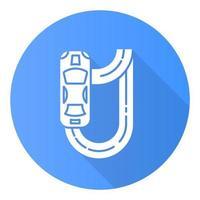 ícone de glifo de sombra longa design plano azul de corrida automática vetor