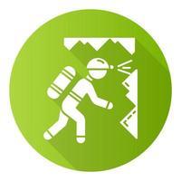 espeleologia ícone de glifo de sombra longa design plano verde vetor