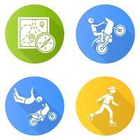 conjunto de ícones de glifo de sombra longa design plano de esportes radicais vetor