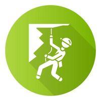 alpinismo design plano verde longa sombra ícone de glifo vetor