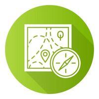 orientação a pé design plano verde ícone de glifo de sombra longa vetor