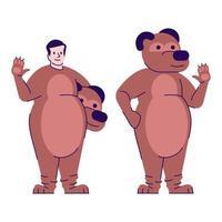 homem vestido com fantasia de urso ilustração vetorial plana vetor