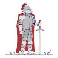 ilustração em vetor plana cavaleiro medieval em armadura de metal pesado