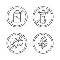 conjunto de ícones lineares de ingredientes sem produtos vetor