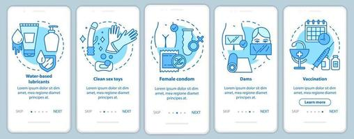 tela da página do aplicativo móvel de integração de sexo seguro com conceitos lineares vetor