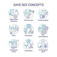 Conjunto de ícones de conceito azul de sexo seguro vetor
