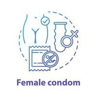 ícone de conceito de preservativo feminino azul vetor