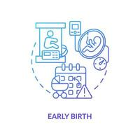 ícone de gradiente azul de nascimento precoce vetor