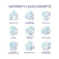 conjunto de ícones gradientes azuis relacionados à licença maternidade vetor