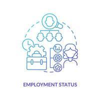 ícone de gradiente azul de status de emprego vetor