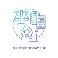 ícone de gradiente azul direito de aumento salarial vetor