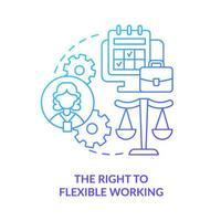direito ao ícone de gradiente azul de trabalho flexível vetor