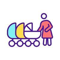mãe com vários carrinhos de bebê ícone de cor rgb vetor