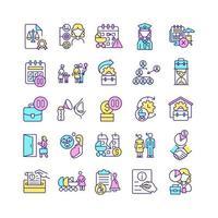 conjunto de ícones de cores rgb relacionados à licença maternidade vetor