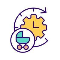 mostrador do relógio e ícone de cor rgb do carrinho de bebê vetor