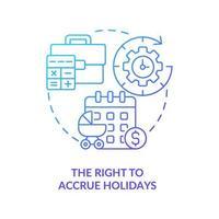 direito de acumular feriados ícone gradiente azul vetor