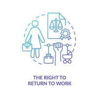 direito de voltar ao trabalho ícone de gradiente azul vetor