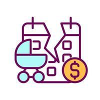 ícone de cor rgb de reclamação de licença maternidade vetor