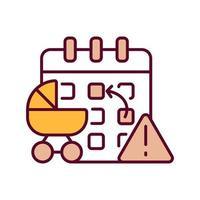 ícone de cor rgb calendário e carrinho de bebê vetor