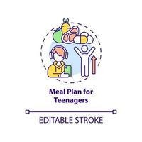 plano de refeição para ícone do conceito de adolescentes vetor