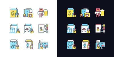 tipos de informações confidenciais conjunto de ícones de cores rgb tema claro e escuro vetor