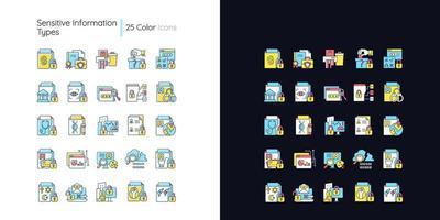 tipos de informações sensíveis conjunto de ícones de cores rgb de tema claro e escuro vetor