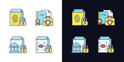 conjunto de ícones de cores rgb de tema de luz e escuro de dados pessoais confidenciais vetor