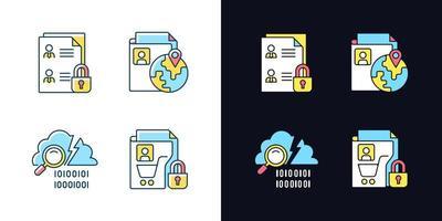 manter informações de segurança de luz e tema escuro conjunto de ícones de cores rgb vetor