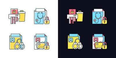 conjunto de ícones de cores rgb de tema claro e escuro informação sensibilidade vetor