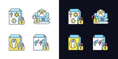confidencialidade de dados conjunto de ícones de cores rgb de tema claro e escuro vetor