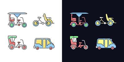 veículo para alugar conjunto de ícones de cores rgb de tema claro e escuro vetor