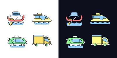 reservado serviço de táxi conjunto de ícones de cores rgb de tema claro e escuro vetor