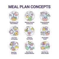 conjunto de ícones de conceito relacionados a plano de refeição vetor