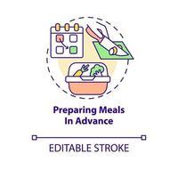 ícone do conceito de preparação de refeições com antecedência vetor