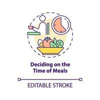ícone do conceito de decidir sobre a hora das refeições vetor
