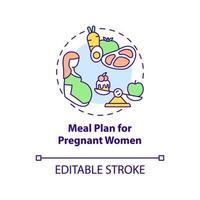 ícone do conceito de plano de refeição para gestantes vetor