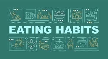 Faixa de conceitos de palavras verdes de hábitos alimentares vetor