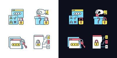 conjunto de ícones de cores rgb de tema claro e escuro de sensibilidade de dados vetor